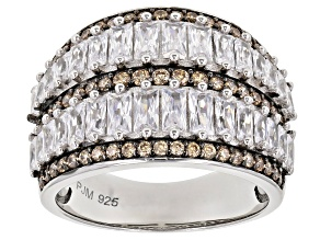 Pre-Owned Champagne And White Cubic Zirconia Rhodium Over Sterling Silver Ring 4.63ctw