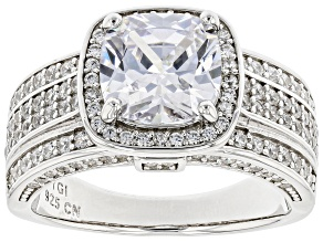 Pre-Owned White Cubic Zirconia Rhodium Over Sterling Silver Ring 5.67ctw