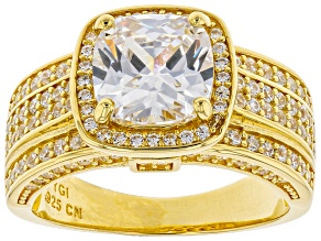 Pre-Owned White Cubic Zirconia 18K Yellow Gold Over Sterling Silver Ring 5.67ctw