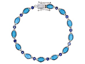 Pre-Owned Blue Turquoise Rhodium Over Sterling Silver Bracelet 1.54ctw