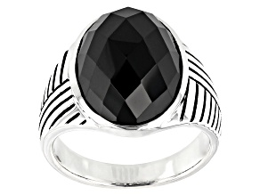 Pre-Owned Mens Black Spinel Rhodium Over Silver Ring 14.45ctw