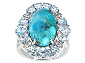 Pre-Owned Blue Turquoise Rhodium Over Sterling Silver Ring 2.35ctw