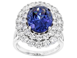 Pre-Owned Blue & White Cubic Zirconia Rhodium Over Sterling Silver Center Design Ring 12.90ctw