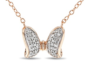 Pre-Owned Mickey And Friends Minnie Mouse Bow Necklace White Diamond Accent 14k Rose Gold Over Silve