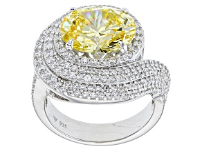 Pre-Owned Yellow And White Cubic Zirconia Rhodium Over Sterling Silver Ring 9.37ctw (5.96ctw DEW)
