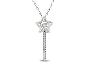 Pre-Owned Enchanted Disney Tinker Bell Wand Pendant With Chain White Diamond Rhodium Over Silver 0.1