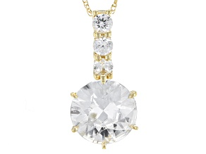 Pre-Owned White Zircon 14k Yellow Gold Pendant With Chain 3.45ctw