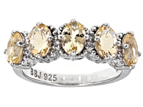 Pre-Owned Yellow Oval Beryl Rhodium Over Sterling Silver Ring 1.85ctw