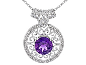 Pre-Owned Purple Moroccan Amethyst Silver Solitaire Pendant With Chain 2.96ct