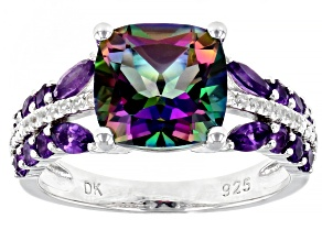 Pre-Owned Green Mystic Fire(R) Topaz Rhodium Over Silver Ring 4.29ctw