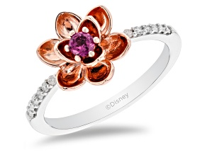Pre-Owned Enchanted Disney Mulan Ring Rhodolite Garnet & Diamond Rhodium Over Silver & 10k Rose Gold