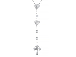 Pre-Owned White Cubic Zirconia Rhodium Over Sterling Silver Heart And Cross Necklace 1.62ctw