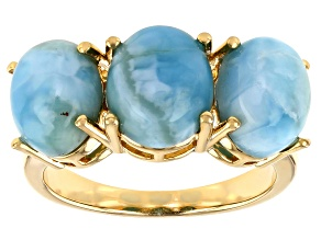 Pre-Owned Blue Larimar 18k Yellow Gold Over Silver 3-Stone Ring