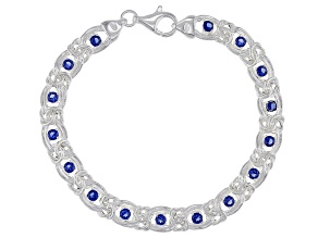 Pre-Owned Blue Cubic Zirconia Sterling Silver Byzantine Link Bracelet 15.30ctw