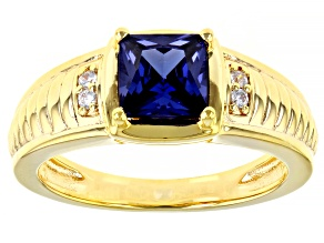 Pre-Owned Blue And White Cubic Zirconia 18K Yellow Gold Over Sterling Silver Ring 2.80ctw