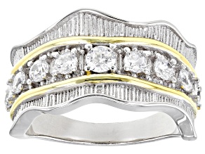 Pre-Owned White Cubic Zirconia Rhodium And 14k Yellow Gold Over Sterling Silver Ring 1.06ctw