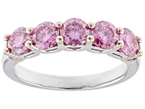 Pre-Owned Pink moissanite platineve and 14k rose gold over sterling silver band ring 1.65ctw DEW