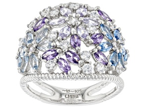 Pre-Owned Lab Created Blue Spinel, White And Purple Cubic Zirconia Rhodium Over Sterling Silver Ring