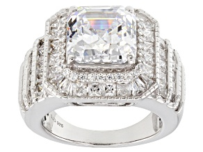 Pre-Owned White Cubic Zirconia Rhodium Over Sterling Silver Ring 10.53ctw