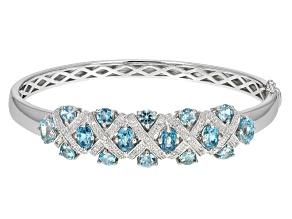 Pre-Owned Blue Cambodian Zircon Sterling Silver Bangle Bracelet 7.73ctw