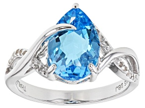 Pre-Owned Blue Topaz Rhodium Over Sterling Silver Ring 3.70ctw