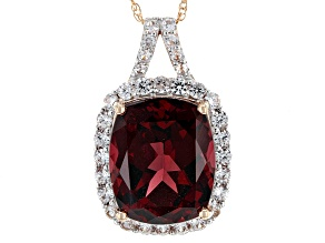 Pre-Owned Grape Color Garnet 14k Rose Gold Pendant With Chain 4.98ctw