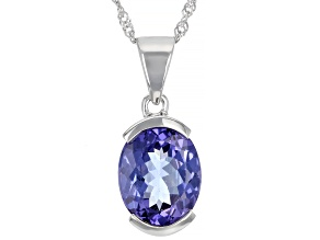 Pre-Owned Blue Tanzanite Rhodium Over 14k White Gold Pendant With Chain 2.80ct