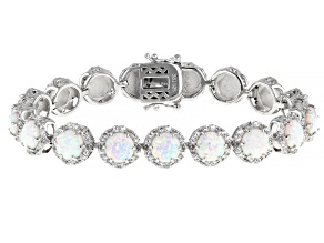 Pre-Owned White Lab Created Opal Rhodium Over Sterling Silver Bracelet 14.10ctw