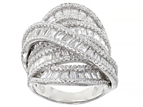 Pre-Owned White Cubic Zirconia Rhodium Over Sterling Silver Ring 8.84ctw