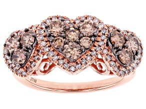 Pre-Owned Champagne And White Diamond 10k Rose Gold Heart Cluster Ring 1.25ctw