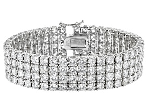 Pre-Owned White Cubic Zirconia Rhodium Over Sterling Silver Bracelet 67.08CTW