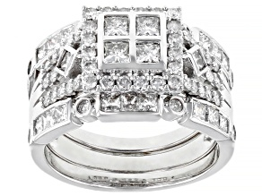Pre-Owned White Diamond 10K White Gold Ring With Two Matching Bands 1.78ctw