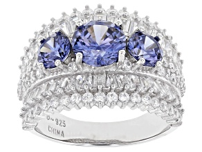 Pre-Owned Blue And White Cubic Zirconia Rhodium Over Sterling Silver Ring 6.93ctw