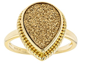 Pre-Owned Golden Drusy Quartz 18k Yellow Gold Over Sterling Silver Ring