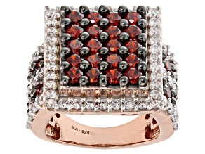 Pre-Owned Red & White Cubic Zirconia 18K Rose Gold Over Sterling Silver Cluster Ring 8.01ctw
