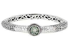 Pre-Owned Green Prasiolite Sterling Silver Bangle Bracelet 3.06ct