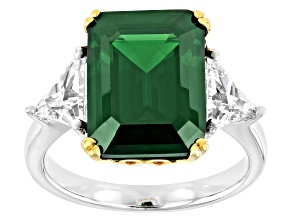 Pre-Owned Green and White Cubic Zirconia Rhodium And 18k  Yellow Gold Over Sterling Silver Ring