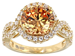 Pre-Owned Champagne And White Cubic Zirconia 18K Yellow Gold Over Sterling Silver Ring 8.02ctw
