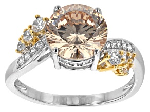Pre-Owned Champagne And White Cubic Zirconia Rhodium And 18K Yellow Gold Over Silver Ring 5.05ctw