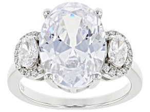 Pre-Owned White Cubic Zirconia Rhodium Over Silver Ring (5.03ctw DEW)