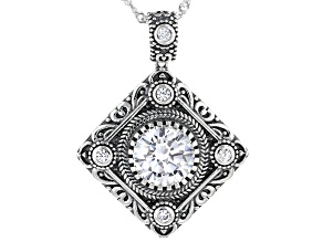 Pre-Owned White Cubic Zirconia Rhodium Over Sterling Silver Pendant With Chain 4.73ctw