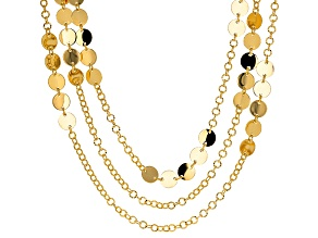 Pre-Owned 18k Yellow Gold Over Bronze Disc Station 30 inch Necklace