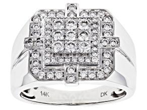 Pre-Owned White Lab-Grown Diamond 14K White Gold Mens Cluster Ring .78ctw
