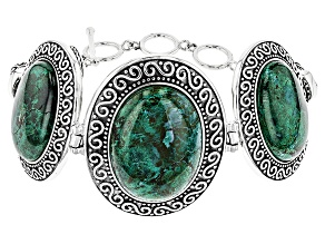 Pre-Owned Green  Chrysocolla Sterling Silver Bracelet