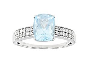 Pre-Owned Blue Aquamarine Rhodium Over 10k White Gold Ring 2.22ctw