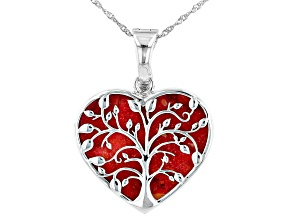 """Pre-Owned Red Sponge Coral Rhodium Over Sterling Silver Heart """"Tree of Life"""" Enhancer Pendant Chain"""