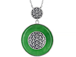 Pre-Owned Round Green Jadeite Sterling Silver Pendant With Chain
