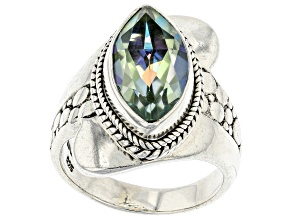 Pre-Owned Green Reflections™ Quartz Silver Ring 3.23ct
