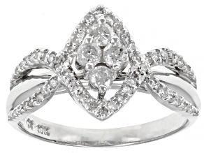 Pre-Owned White Diamond 10K White Gold Cluster Ring 0.50ctw