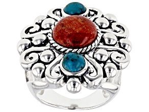 Pre-Owned Red Sponge Coral And Turquoise Sterling Silver Over Brass Ring